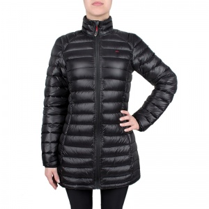 Women feather filled trench Ivonne